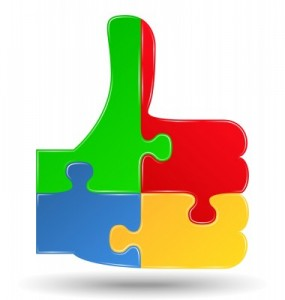 social medie jigsaw depicts thumbs up